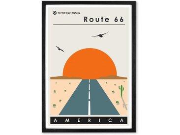 Route 66 Landscape Travel Poster, gerahmter Kunstdruck (verschiedene Groessen erhaeltlich)