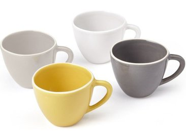 Noah 4er-Set Tassen aus Steingut, Grautoene und warmes Gelb