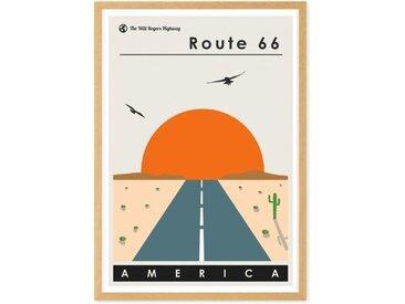 Route 66 Landscape Travel Poster, gerahmter Kunstdruck (65 x 90 cm), Mehrfarbig