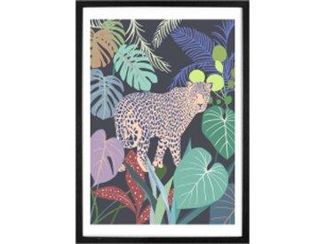 Leopard Jungle, gerahmter Kunstdruck (verschiedene Groessen erhaeltlich)