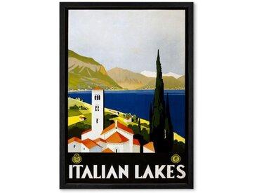 Italian Lakes Vintage Travel, gerahmter Kunstdruck (A2), Mehrfarbig