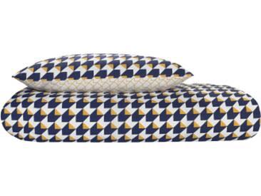 Mikka 100 % Baumwolle Bettwaescheset (155 x 220 cm), Marineblau und Senfgelb DE