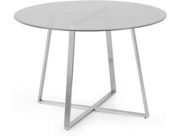 Haku runder Esstisch, Rauchglas und Stahl