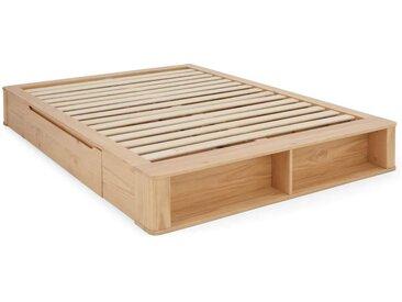 MADE Essentials Kano Holzbett mit Stauraum (140 x 200 cm), Pinie