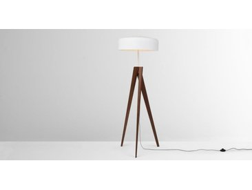Madison Tripod-Stehlampe, dunkles Holz und Weiss