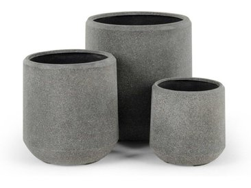 3 x Hagan runde Uebertoepfe, Grau