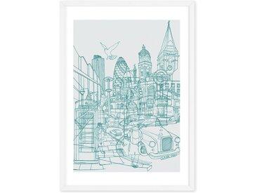 London Illustration, mit Rahmen A2 (42 x 59 cm)