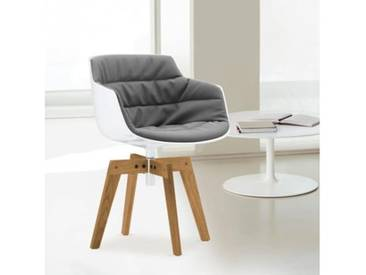 MDF Italia FLOW SLIM Sessel B: 550 H: 764 T: 547 mm, weiß/grau F054181C006R063F006S042S007