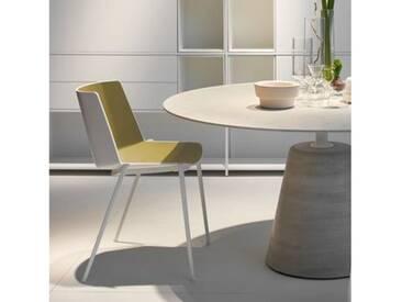 MDF Italia AÏKU Stuhl mit keilförmigen Beinen B: 580 H: 780 T: 550 mm, weiß matt/weiß glanz/olivgrün F058105F063S007