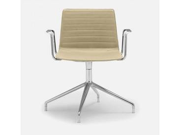 Andreu World Flex High Back Stuhl mit Armlehnen B:640 H:810 T:515mm, aluminium poliert/creme SO-1644#Fuß#alu.pol.#Steppnaht#1805