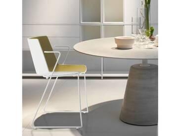 MDF Italia AÏKU Stuhl mit Armlehnen und Kufen B: 592 H: 780 T: 550 mm, weiß matt/weiß glanz/olivgrün F058103F063S007