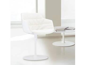 MDF Italia FLOW SLIM Sessel mit Mittelfuß B: 550 H: 764 T: 540 mm, weiß/cremeweiß F054175C006R058F006S006