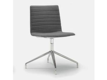 Andreu World Flex High Back Stuhl B: 505 H: 810 T: 515 mm, aluminium poliert/grau SI-1638#Fuß#alu.pol.#Steppnaht#173