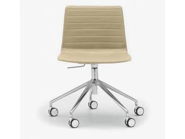 Andreu World Flex High Back Stuhl mit Rollen B:665 H:755 T:610mm, aluminium poliert/creme SI-1656#Fuß#alu.pol.#Steppnaht#1805
