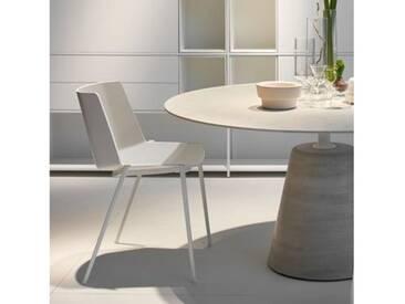 MDF Italia AÏKU Stuhl mit keilförmigen Beinen B: 580 H: 780 T: 550 mm, weiß matt/weiß glanz/hellgrau F058105F064S007