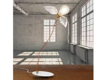 Ingo Maurer Lucellino LED Tischleuchte mit Dimmer B: 35 H: 45 cm, weiß/messing/satiniert 4817000, EEK: A+