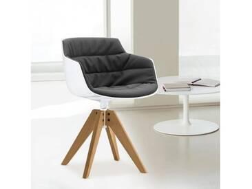 MDF Italia FLOW SLIM Sessel B: 560 H: 764 T: 560 mm, weiß/dunkelgrau F054180C006R062F006S042S007