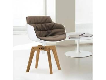 MDF Italia FLOW SLIM Sessel B: 550 H: 764 T: 547 mm, weiß/taupe F054181C006R304F006S042S007