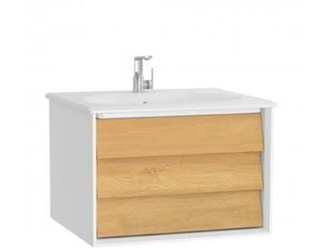 VitrA Frame Waschtisch mit Waschtischunterschrank B: 62,5 H: 43,5 T: 53,5 cm, 1 Auszug Front eiche gold / Korpus weiß matt 61216, EEK: A++
