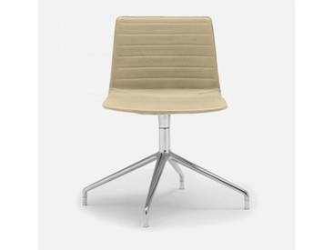 Andreu World Flex High Back Stuhl B: 505 H: 810 T: 515 mm, aluminium poliert/creme SI-1638#Fuß#alu.pol.#Steppnaht#1805