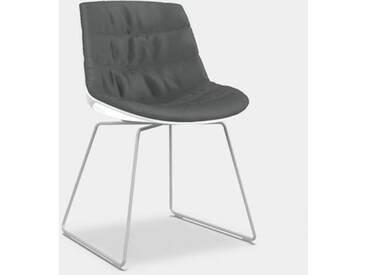 MDF Italia FLOW Stuhl mit Kufen B: 530 H: 805 T: 540 mm, weiß matt/weiß glanz/grau F052172C006R063F006S007