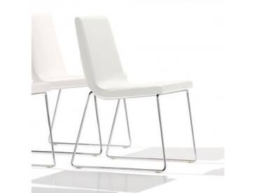Andreu World Lineal Comfort Stuhl mit Kufengestell B: 515 H: 825 T: 585 mm, chrom/weiß SI-0594#1800
