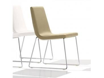 Andreu World Lineal Comfort Stuhl mit Kufengestell B: 515 H: 825 T: 585 mm, chrom/creme SI-0594#1805