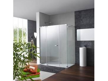Hüppe Studio Paris Schwingtür mit festem Segment mit Nebenteil, Seitenwand 90-120 cm ESG klar / chrom, Linksbefestigung PR0189C91322