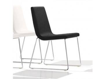 Andreu World Lineal Comfort Stuhl mit Kufengestell B: 515 H: 825 T: 585 mm, chrom/schwarz SI-0594#191