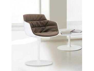 MDF Italia FLOW SLIM Sessel mit Mittelfuß B: 550 H: 764 T: 540 mm, weiß/taupe F054175C006R304F006S006
