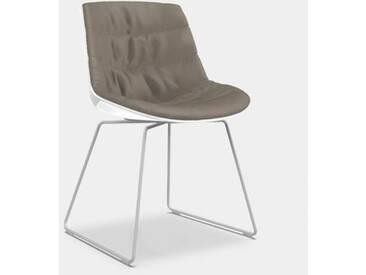 MDF Italia FLOW Stuhl mit Kufen B: 530 H: 805 T: 540 mm, weiß matt/weiß glanz/taupe F052172C006R304F006S007