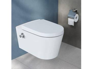 VitrA Options Nest Wand-Tiefspül-WC VitrAflush 2.0 L: 57 B: 35,5 cm, mit Bidetfunktion weiß, mit integrierter Thermostat-Armatur 5176B003-7211