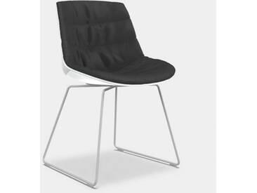 MDF Italia FLOW Stuhl mit Kufen B: 530 H: 805 T: 540 mm, weiß matt/weiß glanz/dunkelgrau F052172C006R062F006S007
