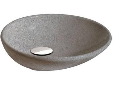 Globo Le PIETRE Aufsatzwaschtisch Ø 50 H: 15 cm grau peperino Stein Oberfläche LAT50PG