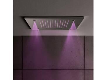 Herzbach Living Spa Regenbrause B: 500 T: 500 mm, Multifunktion 3, Deckeneinbau, mit LED-Beleuchtung edelstahl gebürstet 11.600385.2.09, EEK: A+