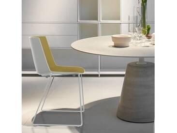 MDF Italia AÏKU Stuhl mit Kufen B: 592 H: 780 T: 550 mm, weiß matt/weiß glanz/olivgrün F058102F063S007