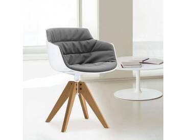 MDF Italia FLOW SLIM Sessel B: 560 H: 764 T: 560 mm, weiß/grau F054180C006R063F006S042S007