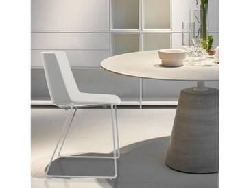 MDF Italia AÏKU Stuhl mit Kufen B: 592 H: 780 T: 550 mm, weiß matt/weiß glanz/hellgrau F058102F064S007