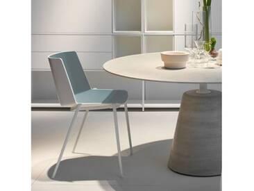 MDF Italia AÏKU Stuhl mit keilförmigen Beinen B: 580 H: 780 T: 550 mm, weiß matt/weiß glanz/mittelblau F058105F062S007