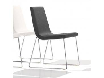 Andreu World Lineal Comfort Stuhl mit Kufengestell B: 515 H: 825 T: 585 mm, chrom/grau SI-0594#173