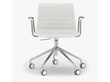Andreu World Flex High Back Stuhl mit Rollen u. Arml. B:665 H:755 T:610mm, aluminium poliert/weiß SO-1659#Fuß#alu.pol.#Steppnaht#1800