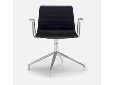 Andreu World Flex High Back Stuhl mit Armlehnen B: 640 H: 810 T: 515mm, aluminium poliert/schwarz SO-1644#Fuß#alu.pol.#Steppnaht#1824