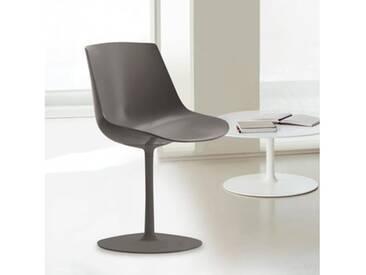 MDF Italia FLOW Stuhl mit Mittelfuß B: 530 H: 805 T: 540 mm, schlamm matt/schlamm F052106F060S066