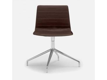 Andreu World Flex High Back Stuhl B: 505 H: 810 T: 515 mm, aluminium poliert/dunkelbraun SI-1638#Fuß#alu.pol.#Steppnaht#1818
