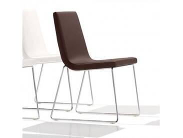 Andreu World Lineal Comfort Stuhl mit Kufengestell B:515 H:825 T:585 mm, chrom/dunkelbraun SI-0594#1818
