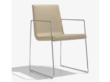 Andreu World Lineal Comfort Stuhl m Kufengestell u Arml. B:525 H:825 T:585mm chrom/creme SO-0595#1805