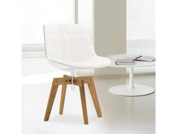 MDF Italia FLOW Stuhl mit Füße B: 540 H: 805 T: 540 mm, eiche/weiß/cremeweiß F052189C006R058F006S042S007