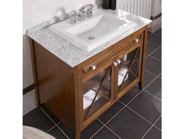 Villeroy & Boch Hommage Waschtischunterschrank mit Waschtisch B: 98,5 H: 85 T: 62 cm, 1 Auszug, 2 Türen Korpus Nussbaum, Front Nussbaum, starwhite mit CeramicPlus, Griff starwhite 8979A1R2