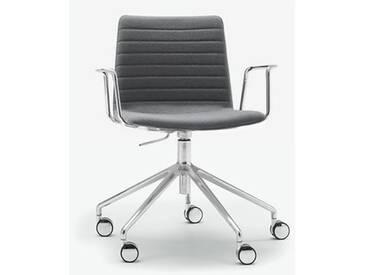 Andreu World Flex High Back Stuhl mit Rollen u. Arml. B:665 H:755 T:610mm, aluminium poliert/grau SO-1659#Fuß#alu.pol.#Steppnaht#173