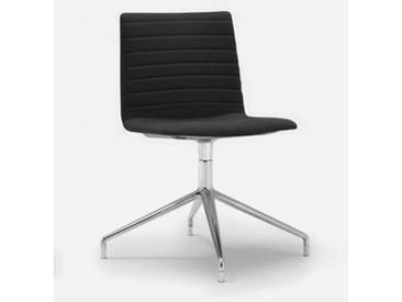 Andreu World Flex High Back Stuhl B: 505 H: 810 T: 515 mm, aluminium poliert/schwarz SI-1638#Fuß#alu.pol.#Steppnaht#191